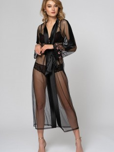Прзрачный длинный черный женский халат на лето