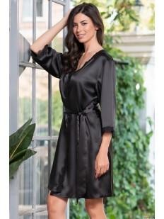 Атласный черный женский халат с кружевным декором