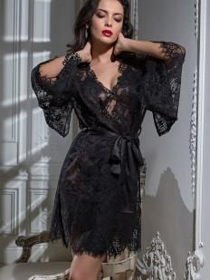 Женский черный кружевной халат кимоно с атласным поясом