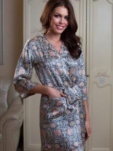 Шелковый женский летний халат с принтом