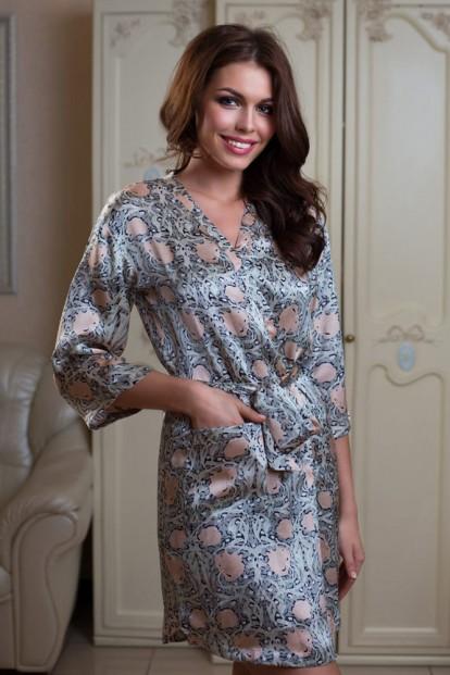 Шелковый женский короткий халат с принтом Mia-Mia Dior 15083 - фото 1