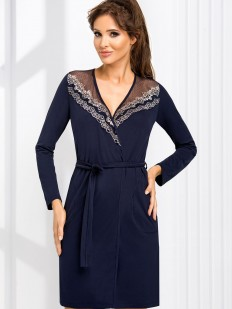 Женский синий халат из вискозы с кружевом и длинным рукавом