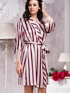 Атласный женский домашний халат в бордовую полоску