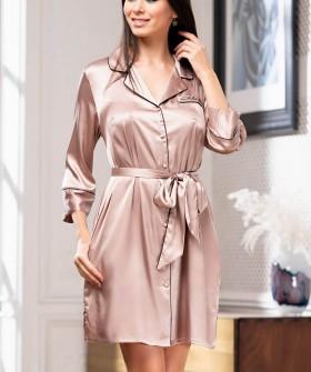 Шелковый кремовый женский халат рубашка на пуговицах