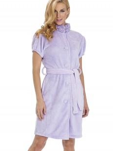 Хлопковый женский махровый халат на пуговицах сиреневый