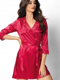 Женский красный атласный халат на лето с кружевной отделкой