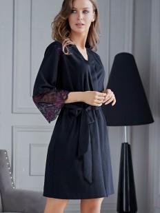 Женский короткий халат кимоно из вискозы с кружевным рукавом