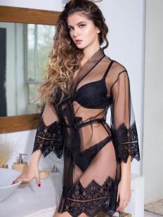 Прозрачный женский летний халат из мягкой сетки с черным кружевом