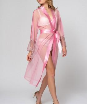 Розовый прозрачный летний женский халат с атласным поясом