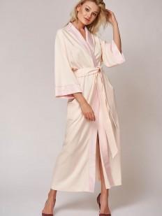 Телесный длинный женский халат из бамбука с широким рукавом и карманами