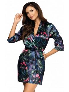 Атласный летний женский халат с растительным принтом синий