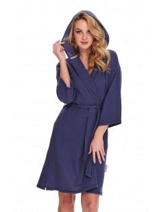 Последний товар!!! Синий женский халат кимоно из хлопка с капюшоном
