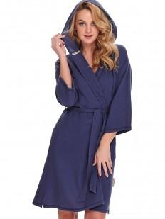 Синий женский халат кимоно из хлопка с капюшоном