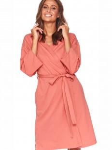 Женский коралловый халат кимоно из хлопка на запахе