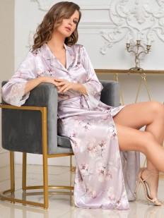 Длинный женский халат на пуговицах из принтованного шелкового полотна