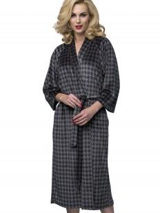 Длинный женский домашний халат в клетку с карманами