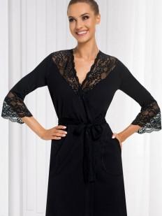 Женский черный кружевной халат из вискозы с карманами