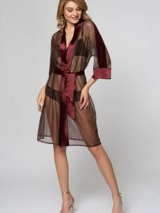 Прозрачный коричневый женский летний халат с атласным поясом