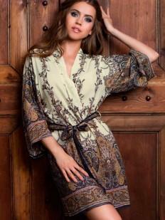 Женский короткий халат кимоно из вискозы с принтом