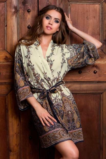 Женский короткий халат кимоно из вискозы с принтом Shakira 16073 Blue Mia-Mia - фото 1