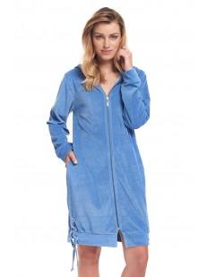 Женский домашний халат на молнии с капюшоном голубой