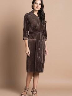 Коричневый велюровый женский халат из бамбука и хлопка на пуговицах