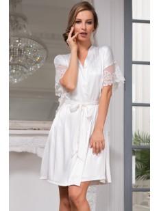 Белый женский халат из шелка с коротким кружевным рукавом на лето