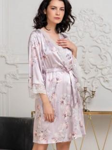 Шелковый женский халат на запах с нежным принтом пион