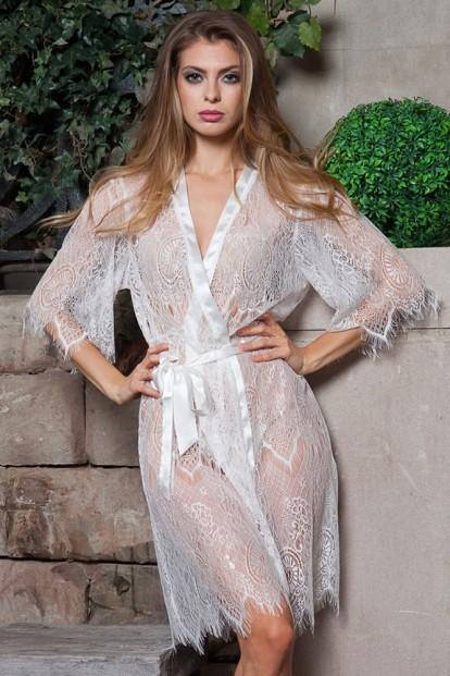 Кружевной белый женский халат Mia-Mia MAGDALENA 17433 - фото 1