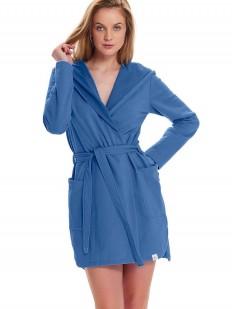 Хлопковый женский домашний халат с капюшоном синий