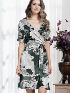 Шелковый летний женский халат изумрудного цвета с серебристым принтом в восточном стиле