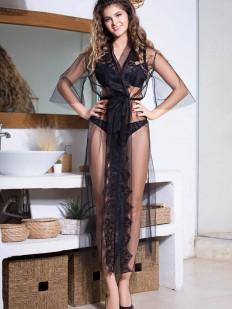 Длинный прозрачный женский халат из мягкой сетки с черным кружевом