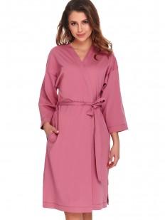 Розовый женский халат кимоно из хлопка с карманами