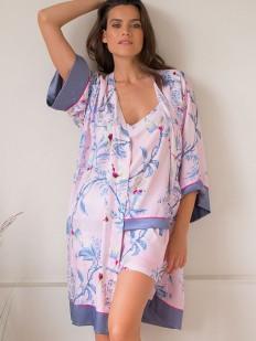 Розовый летний женский халат кимоно из вискозы с цветочным принтом