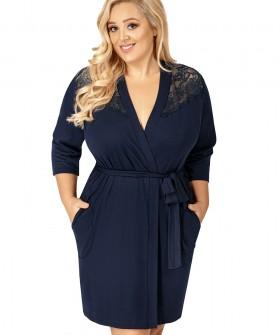 Синий женский домашний халат большого размера из вискозы