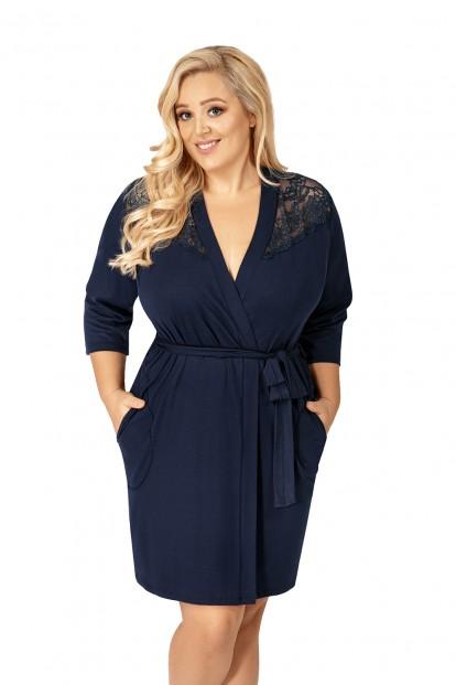 Синий женский халат большого размера Donna TESS PLUS - фото 1
