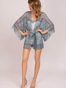 Кружевной серебристый женский халат кимоно с атласным поясом