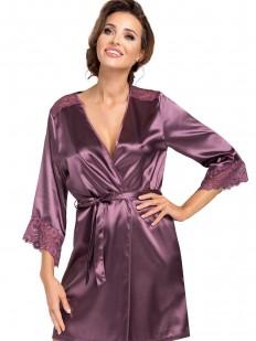 Женский атласный лиловый халат на лето с кружевным рукавом