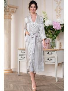 Длинный атласный женский халат на пуговицах в серебристую полоску