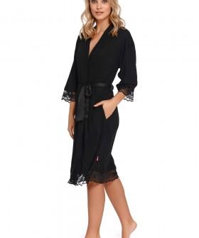 Черный женский халат из модала и хлопка с кружевным декором
