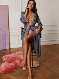 Элегантный серый женский халат из тонкой вискозы