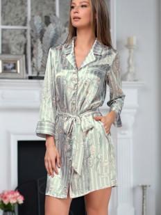 Женский серебристый атласный халат на пуговицах в полоску с принтом