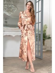 Длинный шелковый женский халат на пуговицах