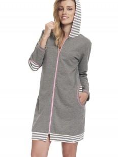 Женский домашний серый халат на молнии с капюшоном в полоску