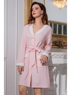 Женский домашний хлопковый халат на пуговицах розовый