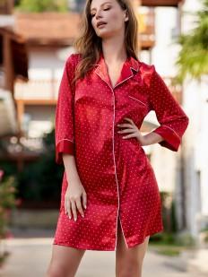 Красный атласный женский халат на пуговицах Mia-Amore Dorothy