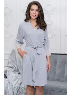 Женский серый халат из вискозы с кружевным рукавом