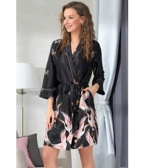 Черный атласный женский халат с принтом журавль