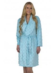 Женский хлопковый голубой халат с длинным рукавом