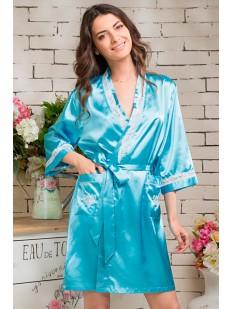 Женский короткий голубой атласный халат на лето